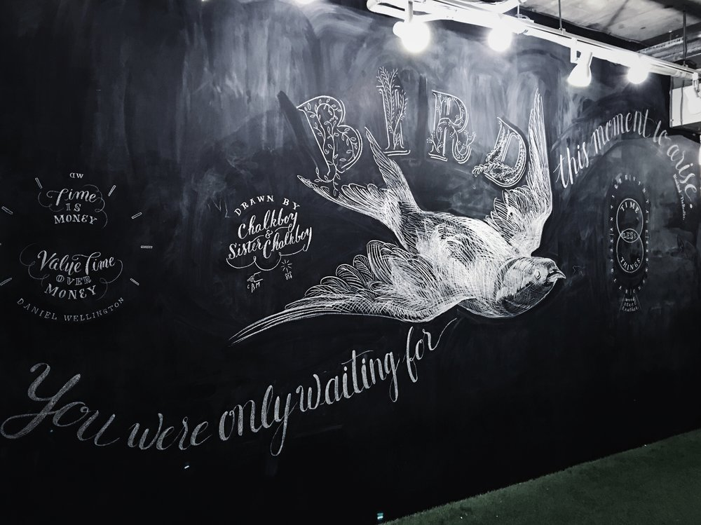 I drew this with Chalkboy one night after the shop was closed. I did the calligraphy and he did the rest. We had an absolute blast!