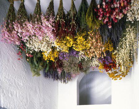 #2 Laat de bloemen drogen - Droogboeketjes oubollig? In tegendeel! Het is helemaal van nu om slow dried flowers in je huis te hebben. Het proces kost wat tijd en werk, maar je kunt er als afscheidsritueel al je liefde in kwijt. Ook hiervoor vind je online allerlei tutorials, maar als je een goede bloemist hebt zoals Floribus Flower Farm, Raket en Distels, Blomsterkrans, Lokale Bloemetjes, Toma en Veld en Vaas, dan kunnen zij de mooiste dingen helpen maken. Zoals een krans die je jarenlang een mooie plek in je huis kunt geven.