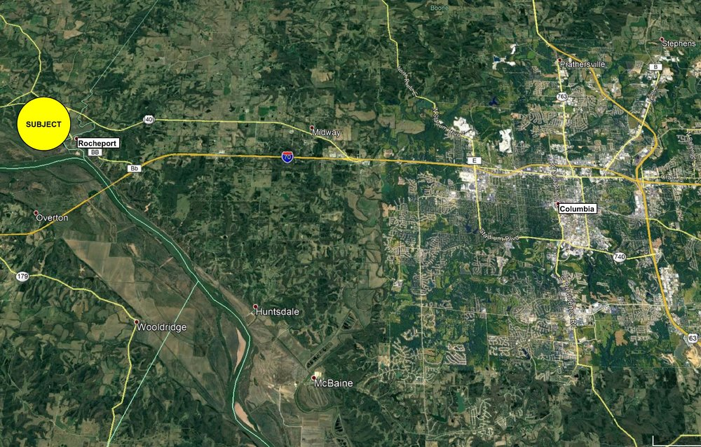 10 miles west of Columbia, Missouri's fourth largest city (behind only St. Louis, Kansas City and Springfield).