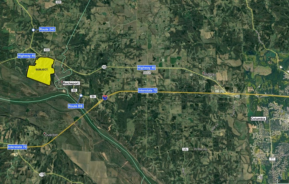 Access can be gained from I-70 by Highway 40, near Columbia City Limits, and Highway BB through Rocheport.