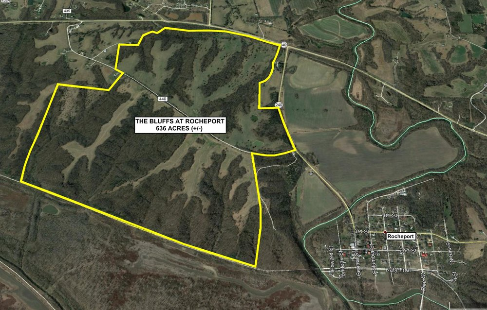The Bluffs at Rocheport includes 636 acres (+/-) of ridge top property overlooking the Missouri River.