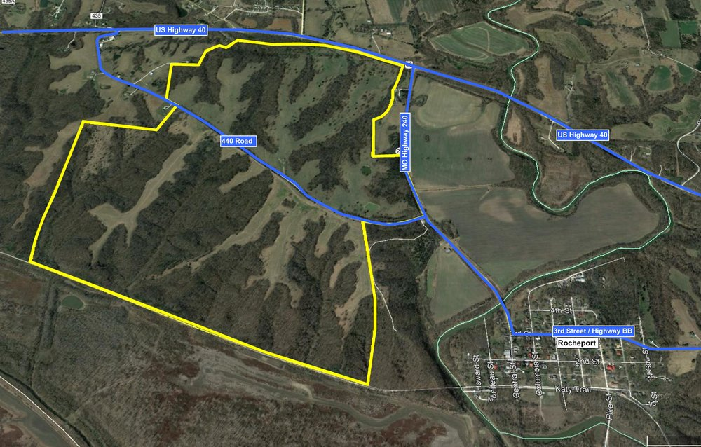 Immediate access can be gained by 440 Road which bisects the property. US Highway 40 borders the property to the north and runs east to I-70 near Columbia city limits, and west to Boonville.