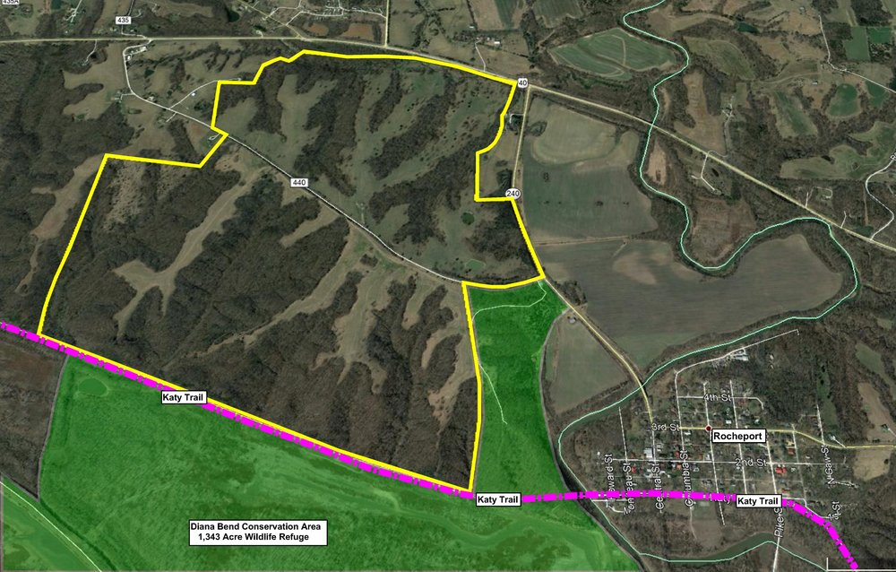 The subject is bordered by both the Diana Bend Conservation Area and The Katy Trail to the south.