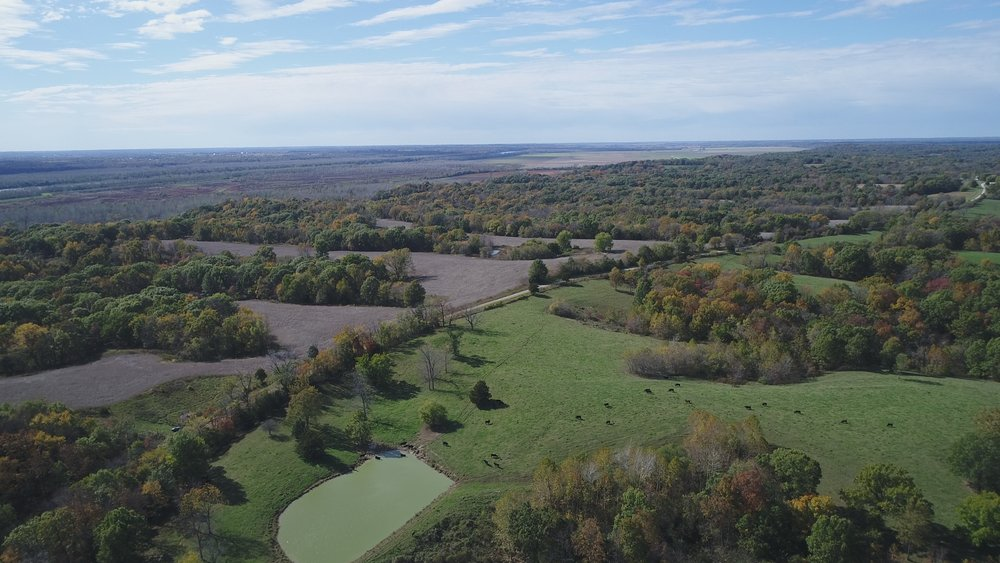 Looking southwest. North Tract on right and South Tract on left. Missouri River Bottoms in background.