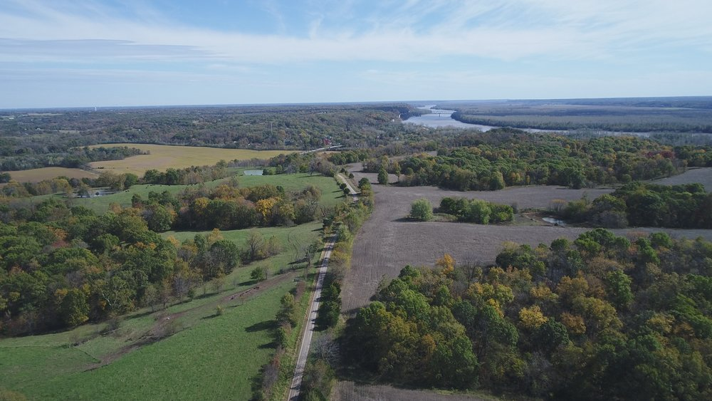 Looking southeast. North Tract on left, South Tract on right and Missouri River in background.