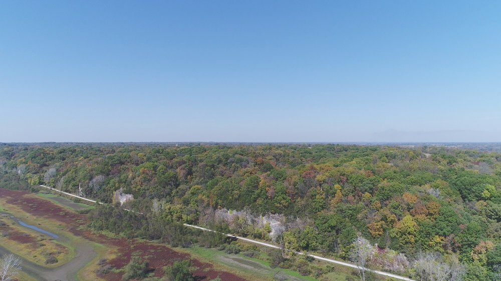 Looking northwest. Diana Bend Conservation Area below and South Tract ahead, above limestone bluffs.