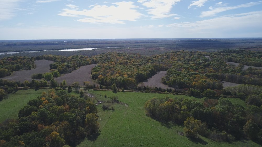 Looking south. North Tract below, South Tract ahead and Missouri River Bottoms in background.