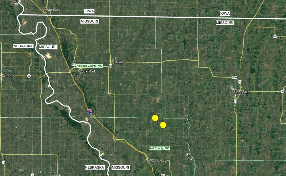 The JKM Farm is located within two major tracts, one that straddles the Atchison/Holt County Line and another that is entirely within Holt County, Missouri.