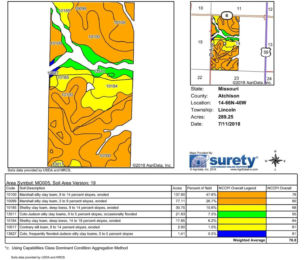 Soil Map: 289 Crop Acres