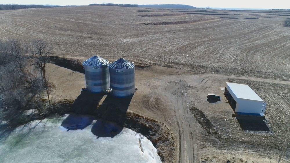 View of Grain Bins: 20,000 Bushel Capacity Each (February 17, 2018)