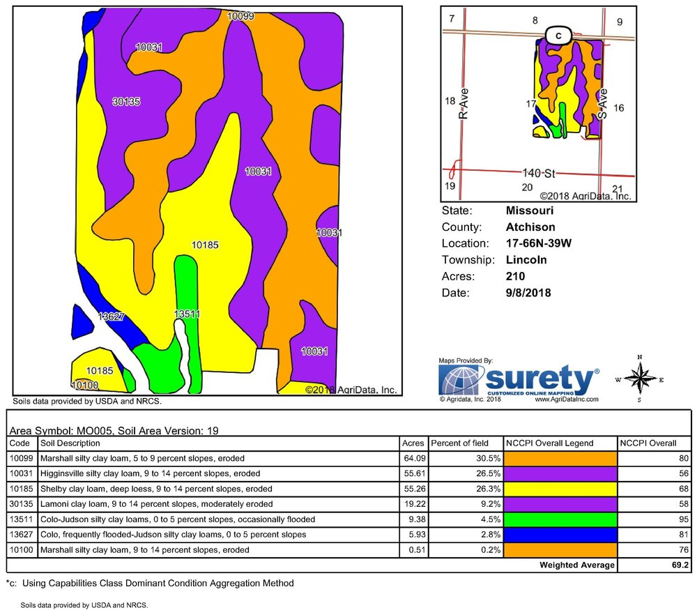 Soil Map: 210 Crop Acres