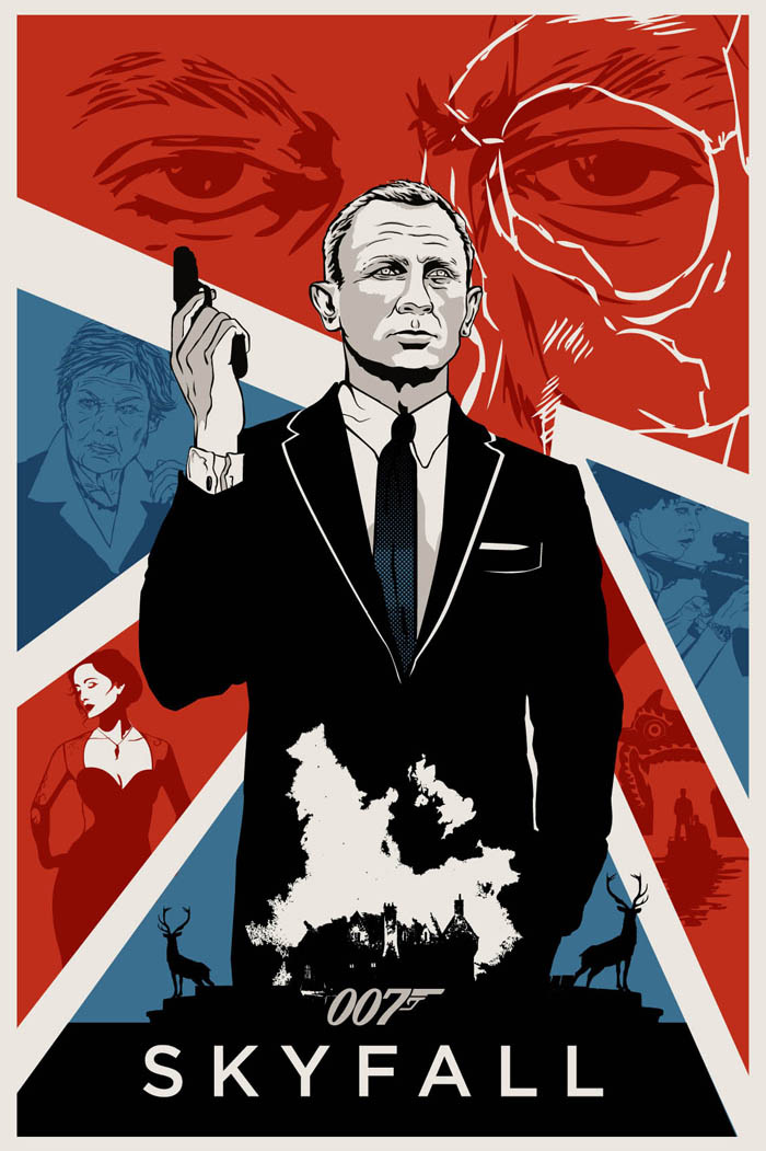 """""""In Skyfall, Bond's loyalty to M is tested as her past comes back to haunt her. As MI6 comes under attack, 007 must track down and destroy the threat, no matter how personal the cost."""" Artwork by Adolfo Reyes"""