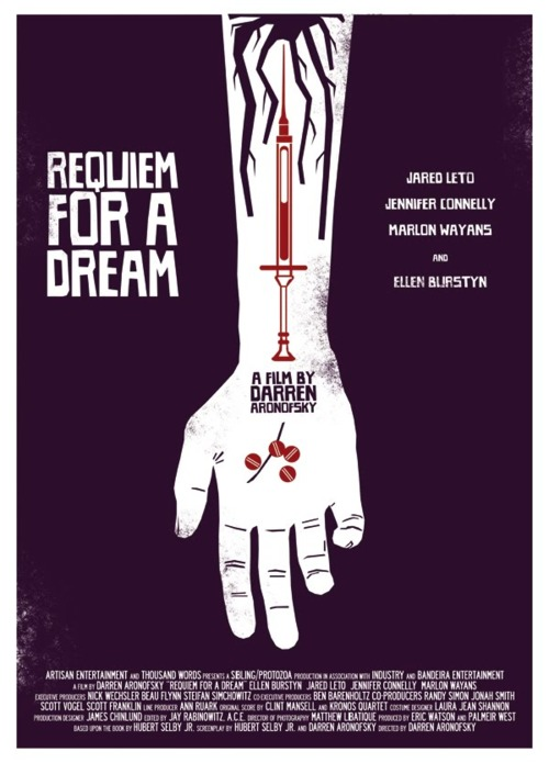 """Requiem for a Dream concerns four people trapped by their addictions. Harry (Jared Leto), and his best friend Tyrone (Marlon Wayans) are impoverished heroin addicts living in Coney Island, NY, while Harry's girlfriend Marion (Jennifer Connelly) is a fellow addict trying to distance herself from her wealthy father.  Meanwhile, Harry's mother Sara (Ellen Burstyn), who spends her days watching television, is told she has the opportunity to appear on her favorite game show."""