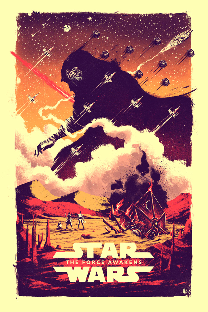 Art by Marie Bergeron    Thirty years after the defeat of the Galactic Empire, the galaxy faces a new threat from the evil Kylo Ren (Adam Driver) and the First Order. When a defector named Finn (John Boyega) crash-lands on a desert planet, he meets Rey (Daisy Ridley), a tough scavenger whose droid contains a top-secret map. Together, the young duo joins forces with Han Solo (Harrison Ford) to make sure the Resistance receives the intelligence concerning the whereabouts of Luke Skywalker (Mark Hamill), the last of the Jedi Knights.