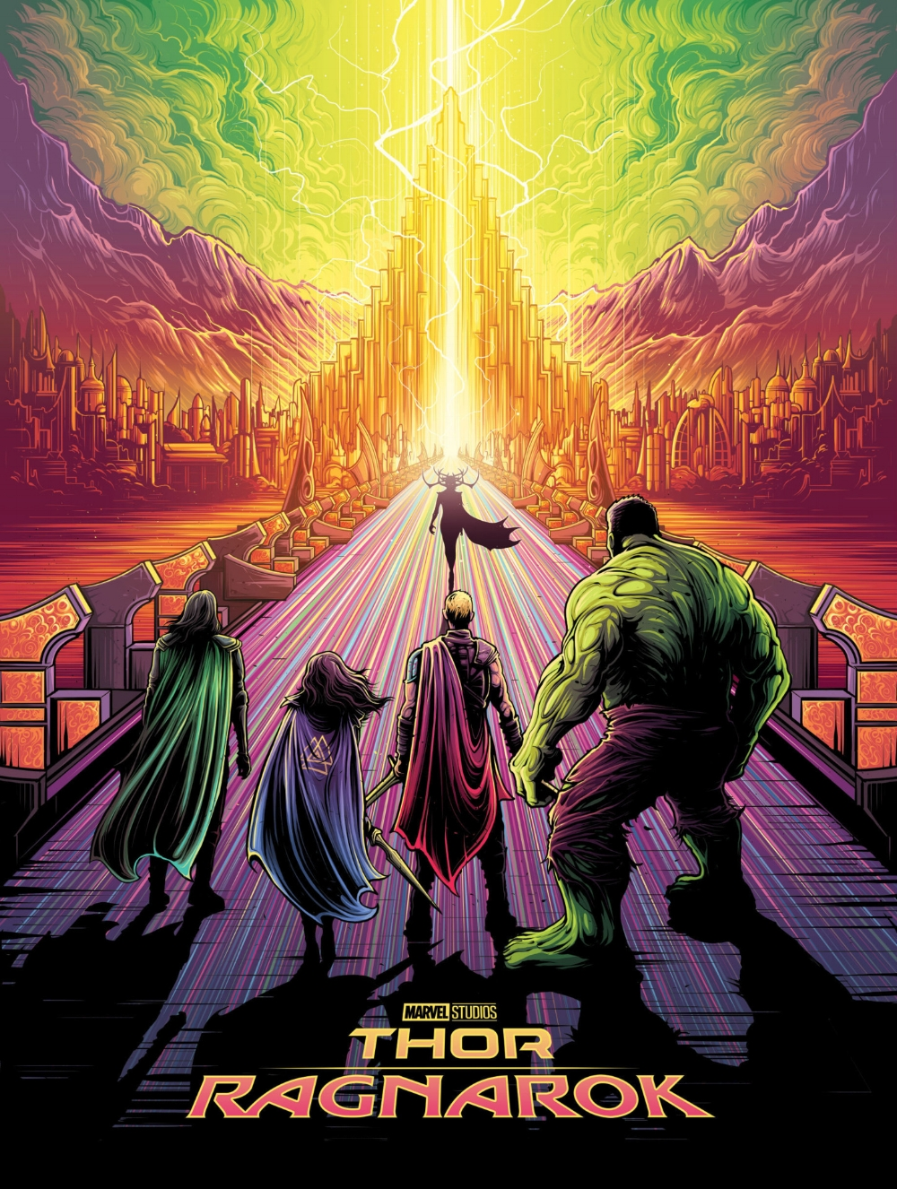 "Artwork by Dan Mumford   ""Imprisoned on the other side of the universe, the mighty Thor finds himself in a deadly gladiatorial contest. Thor's quest for survival leads him in a race against time to prevent the all-powerful Hela from destroying his home world and the Asgardian civilization."""
