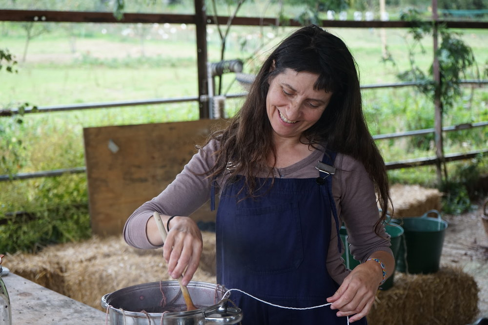 Nicky agitating a dye pot