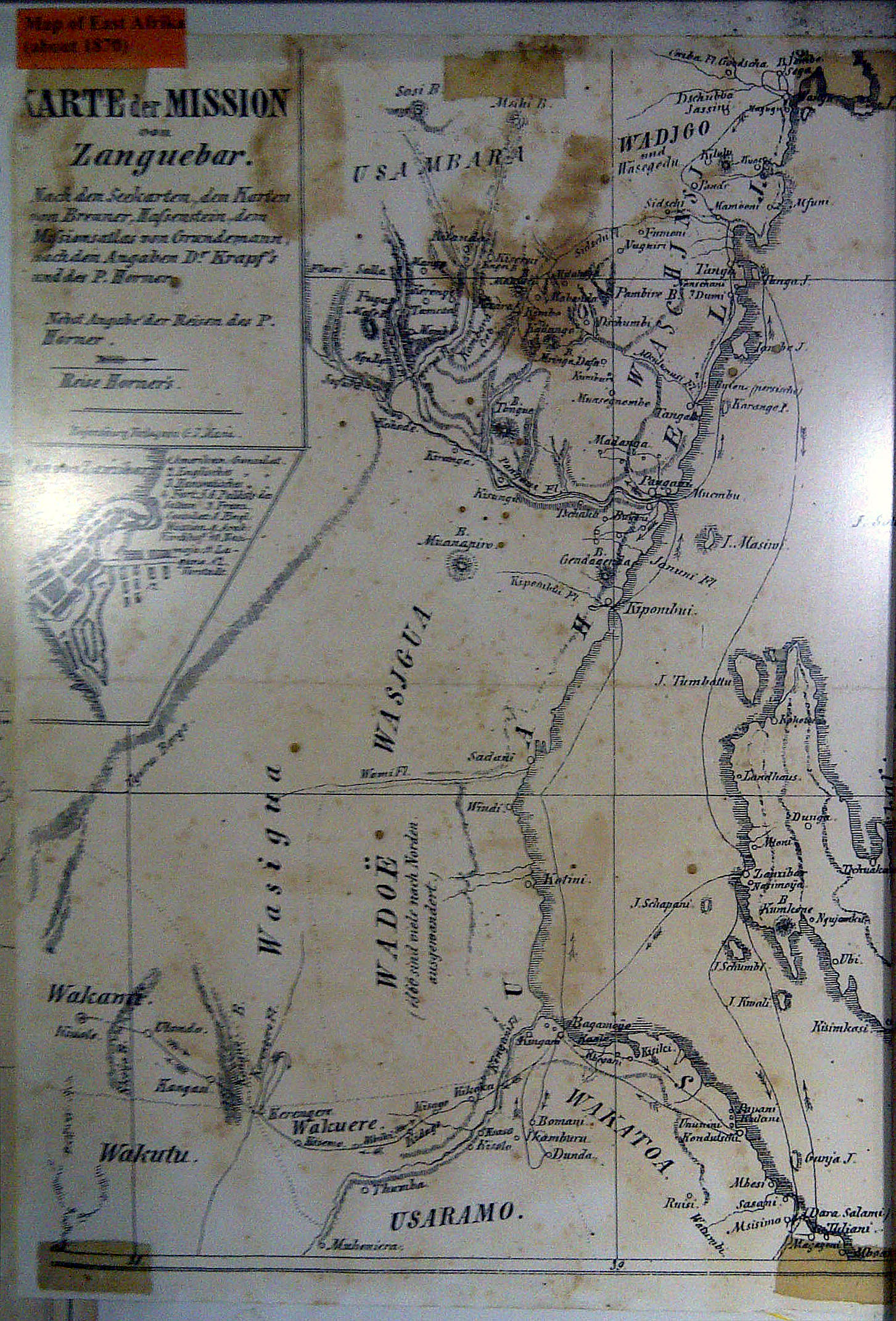 Oldest map of Bagamoyo from 1870