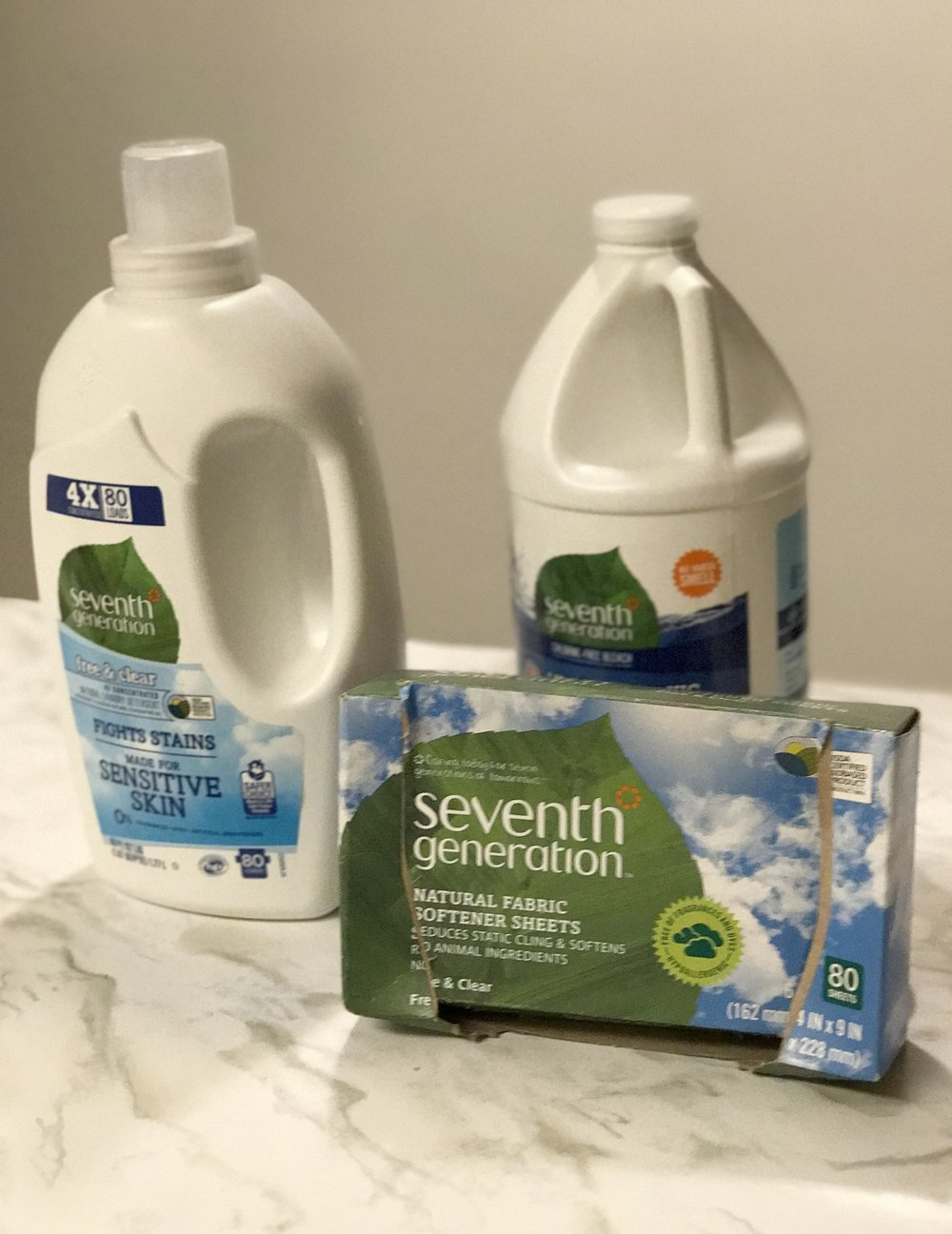 Instead of Tide detergent, Clorox bleach, and Snuggle dryer sheets, I've replaced all with Seventh Generation brand  detergent,   bleach , and  dryer sheets .