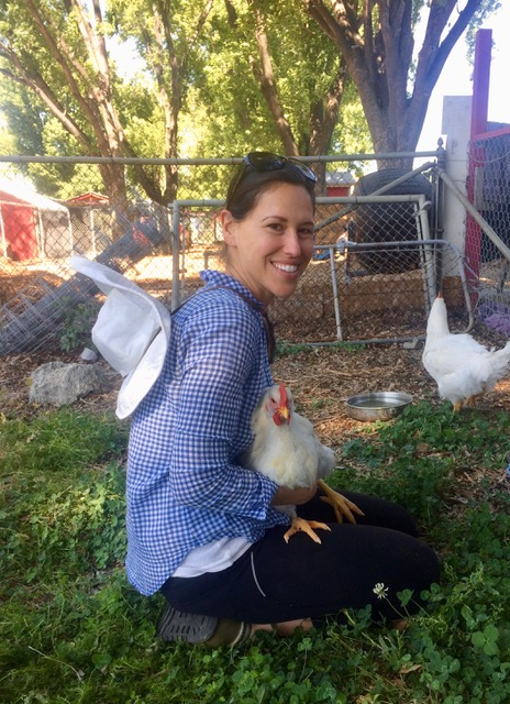 Maria and Vincenzo the chicken.