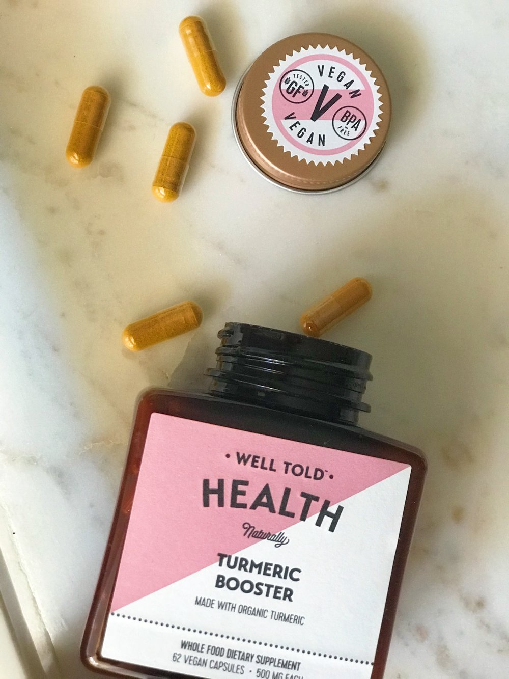 Well Told Health  Turmeric Booster  which is vegan and filler-free.  NOTE:  At time of press, the name of this product was changed to Anti-Inflammatory Booster.    Photo:  Reformation Health