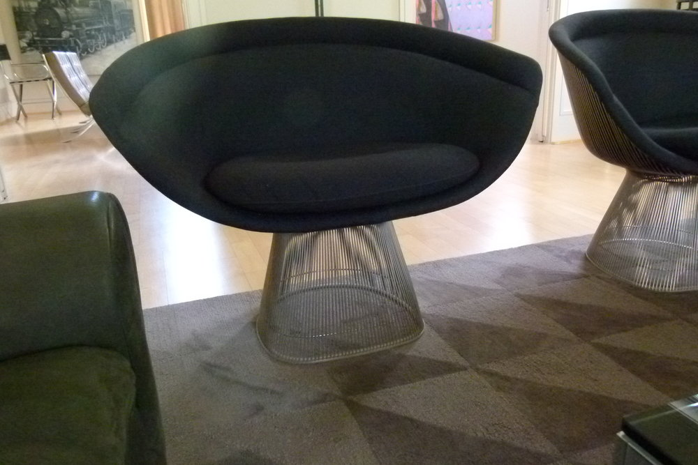 Pair of gray Warren Platner lounge chairs