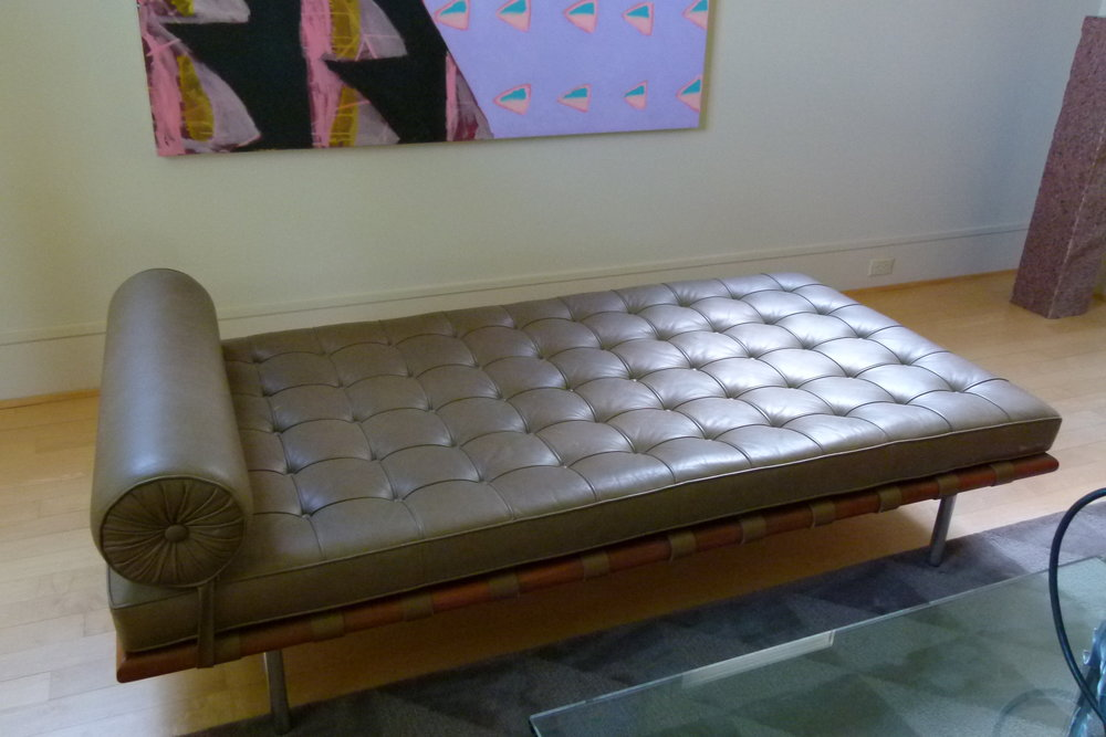 Brown leather Barcelona day bed