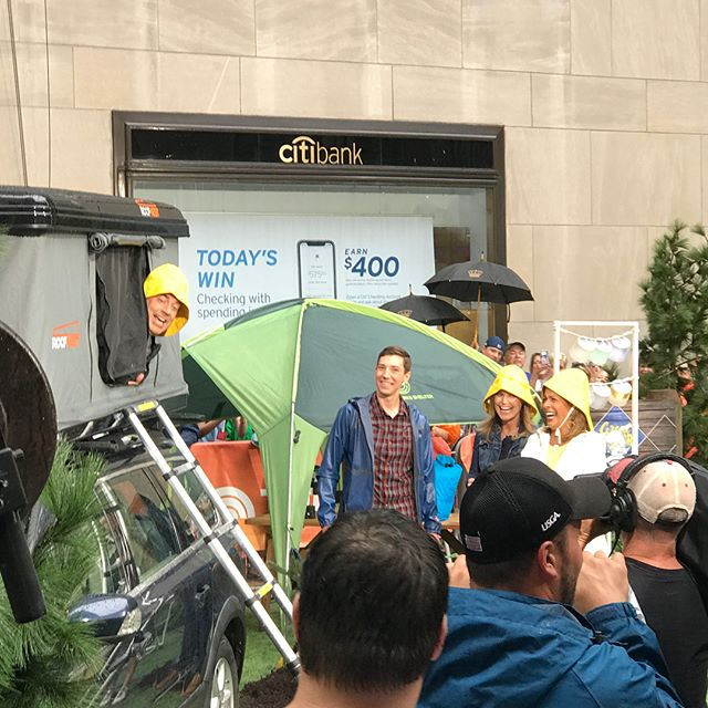 Behind the scenes from one of the most memorable mornings I've had in a while! So much fun talking about rooftop tents and other gear with @hodakotb @savannahguthrie and @carsondaly on the @todayshow this morning. Here's a replay: https://www.today.com/video/camping-gear-that-s-perfect-for-any-adventure-seeker-1283285571753 #todayshow #greatoutdoors #nbc