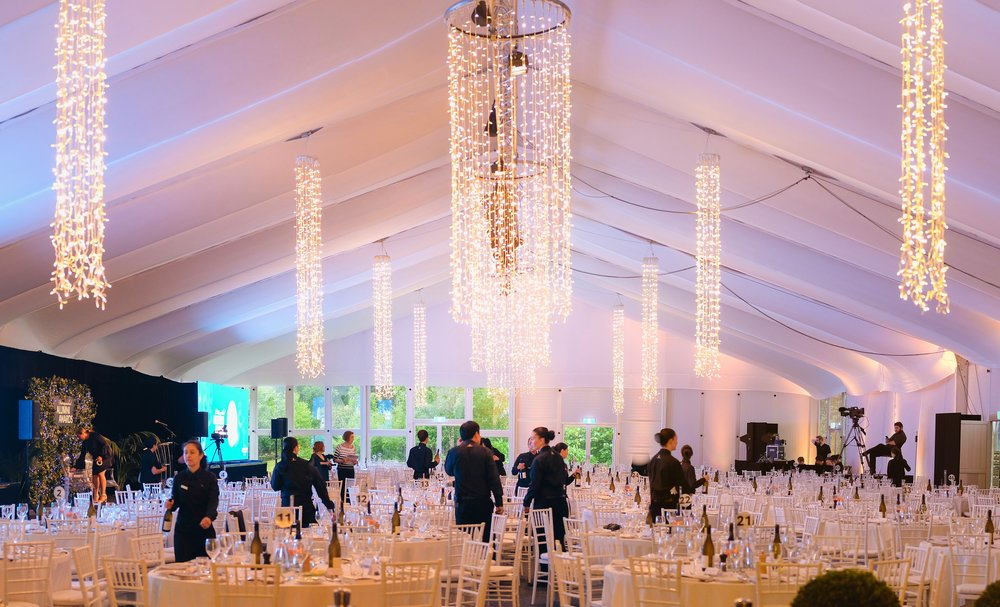 Bespoke Fairy Light Chandeliers For A Marquee Event