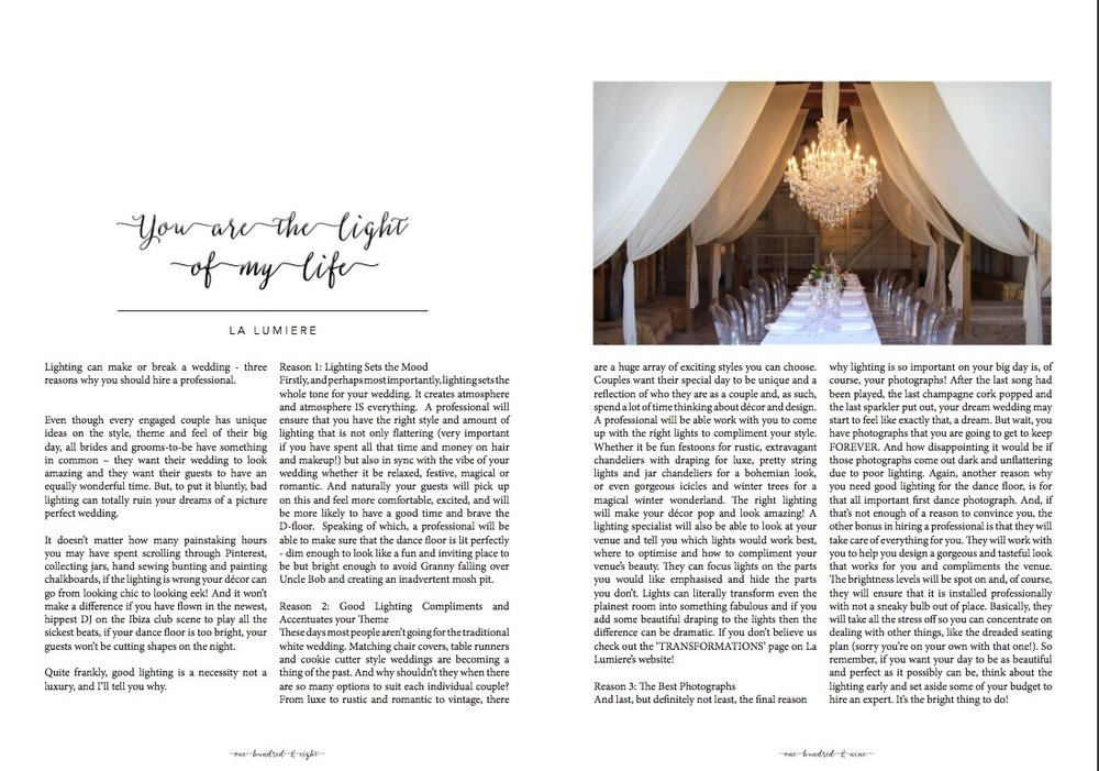 The light of my life Hitched wedding magazine 2015
