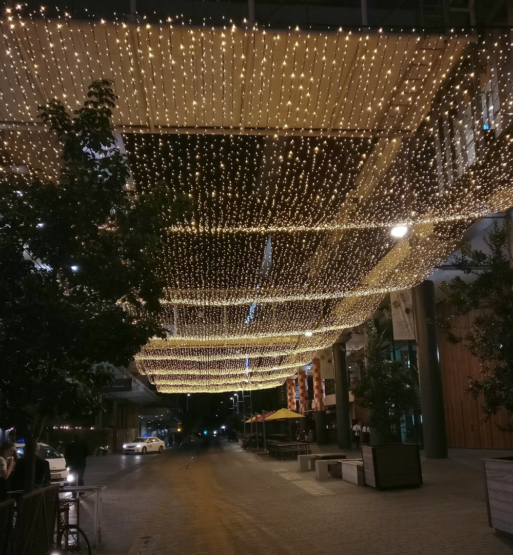 grand street decoration with string lights