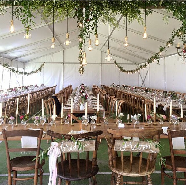 vintage festoons with ivy in marquee