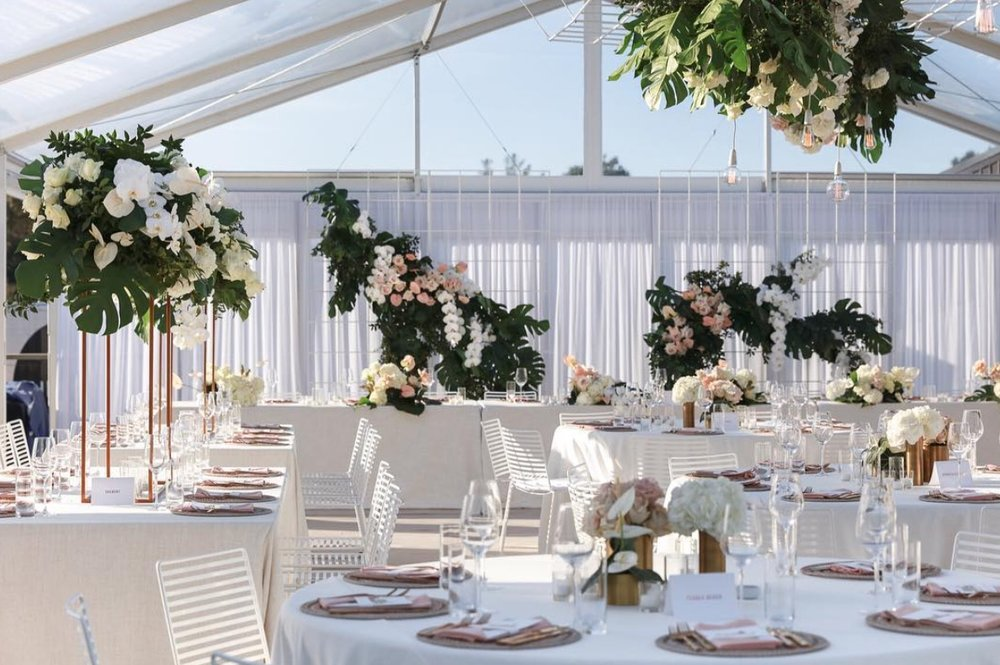 soft white draping in marquee