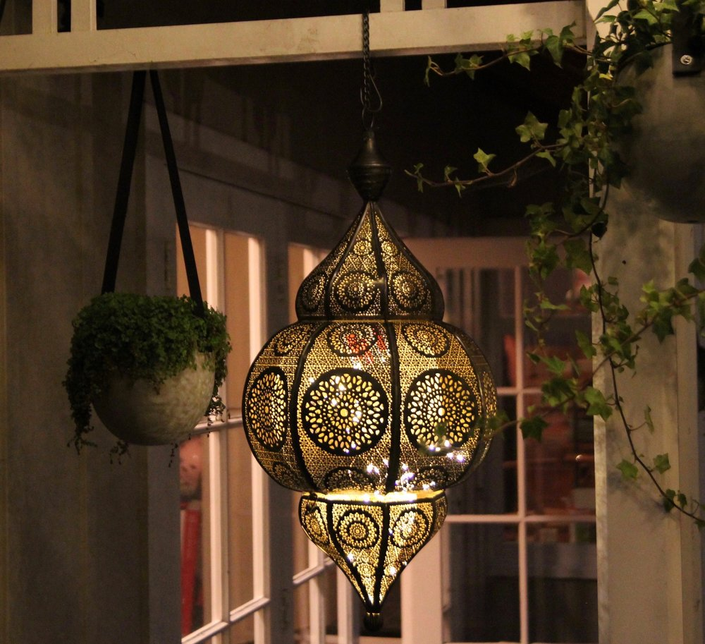 moroccan lantern with bulb or battery lights inside  600mm tall  *$85+gst *install only