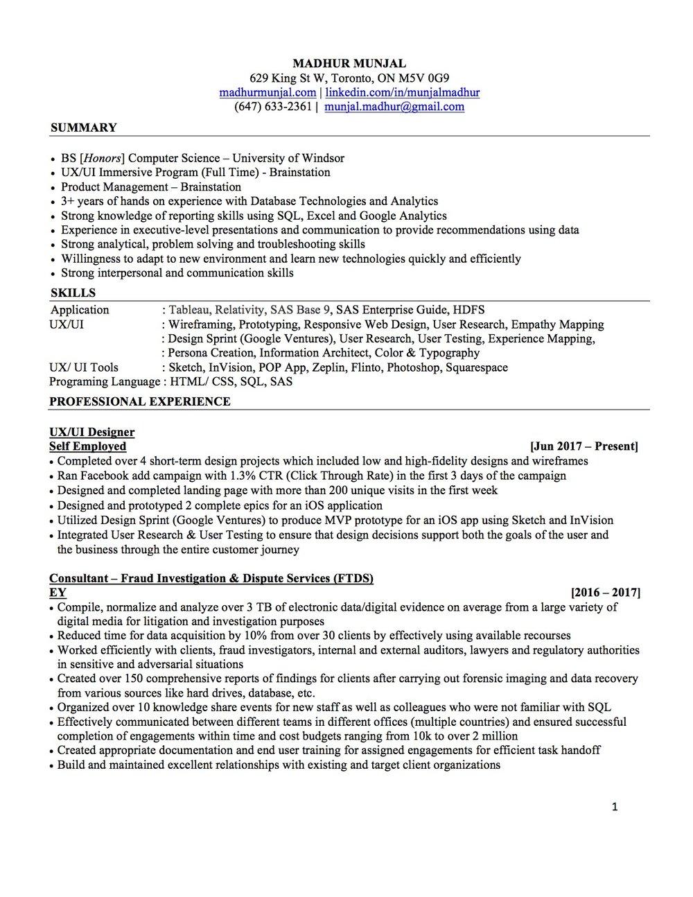 Resume — Madhur Munjal