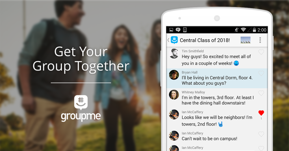 Make sure you visit your app store to download the free GroupMe messaging app, or  click here.