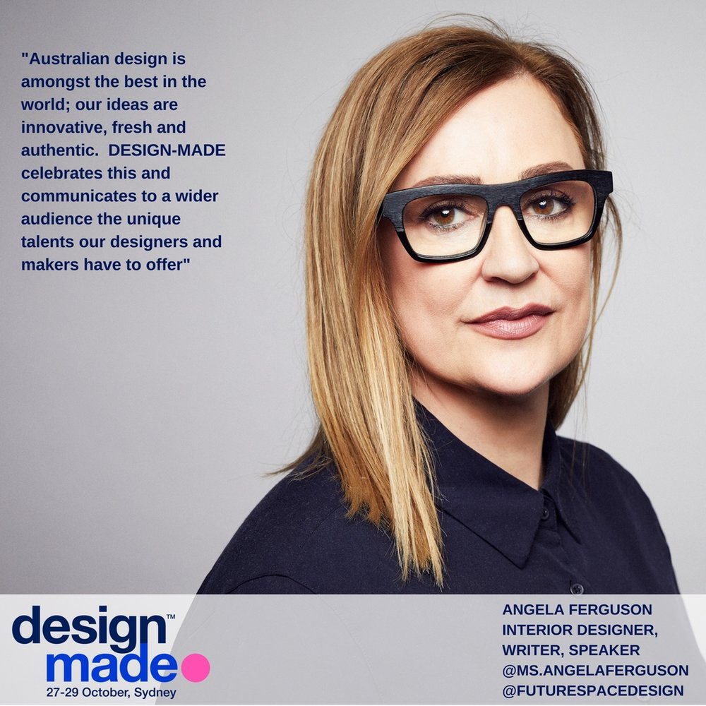 Angela Ferguson - Angela is an impassioned advocate for the powerful influence that design can have on people's lives, whether that is at work, at home or at play. Through her design work, her writing and her speaking, Angela shares her experience of human centred design with a global audience. She is a qualified interior designer who has worked for more than twenty years designing residential, educational, recreational, retail and working environments. Angela is an award winning businesswoman and co-owner of interior architectural practice Futurespace. Her clients include some of the most recognised names in the world such as Google, Qantas, PwC, REA Group and Volkswagen. Her design work and her writing have been published in print across Australia, Asia and Europe as well as across numerous online publications including The Sydney Morning Herald, The Age, AFR and Huffington Post. Angela is an international keynote speaker and regularly appears live on Sky News TV.