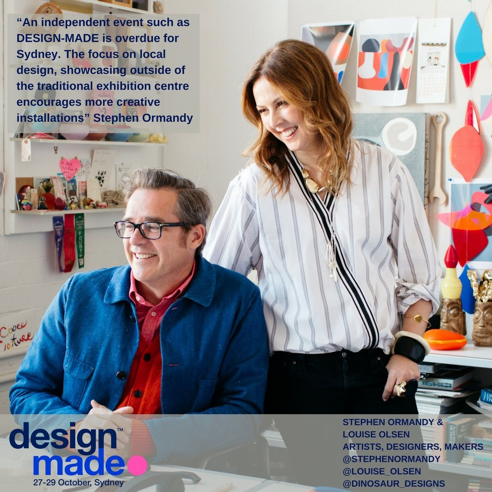 Stephen Ormandy & Louise Olsen, Dinosaur Designs - Olsen and Ormandy are constantly inspired by nature and the materials that they work with. They're training as visual art students and their love of the Australian light and landscape, which is seen in their sense of colour and forms.They consider working in design to be a wonderful privilege and a great way to study of the world. A never ending exploration where they're constantly inspired by nature. This is just one of the reasons they use sustainable working methods and minimise waste and electricity consumption. For over 30 years Olsen and Ormandy have continued to explore and push the boundaries in art and design. They have exhibited at galleries around the world and collaborated with international designers including, Victoria & Albert Museum, Tokyo Writers Block, Spiral Gallery Tokyo, Guggenheim Museum, Gallery of Modern Art Queensland (GOMA), Perth's Gallery of Western Australia, Karen Woodbury Gallery in Melbourne, New York Design Week, London Design Festival, Paul Smith, Louis Vuitton, Toni Maticevski, Romance Was Born and Jac+ Jack.