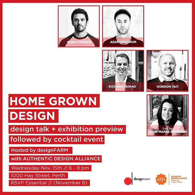 #ADAdesignstories heads to Perth 👉HOME GROWN DESIGN hosted by @designfarm_perth unpacks the incredible vision, commitment, investment, collaboration & experimentation by designers and commissioning brands - the essential ingredients to making design ideas a commercial reality! + Our event is at over capacity - with more that 150 tickets claimed in less thank a week ✨ + @adamcornishdesign @adamgoodrumstudio @richardmunao @cultdesignau @nau_design @gordietait @madebytait ✔️moderated by @authenticdesign_aus @the_snap_assembly + #supportoriginaldesign #supportaustraliandesign #replicaisfake #getrealbuyrealsupplyreal #australiandesign #furnituredesign #industrialdesign #authenticdesign #authenticdesignalliance #designmadeaus