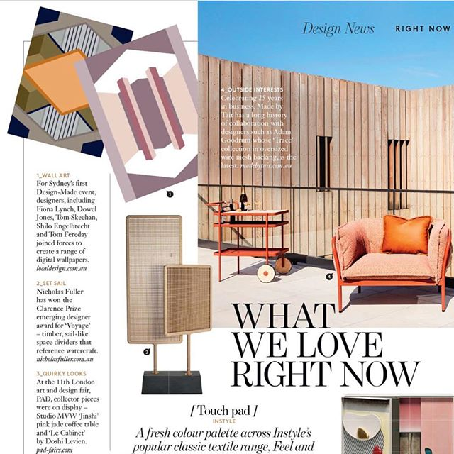 @bellemagazineau DESIGN NEWS.  @local_design #ldwallpapers as launched at @design_made_ last month. Sitting pretty next to @adamgoodrumstudio for @madebytait #bellemagazine #australiandesign #localdesign #tait #adamgoodrum #designmadeaus