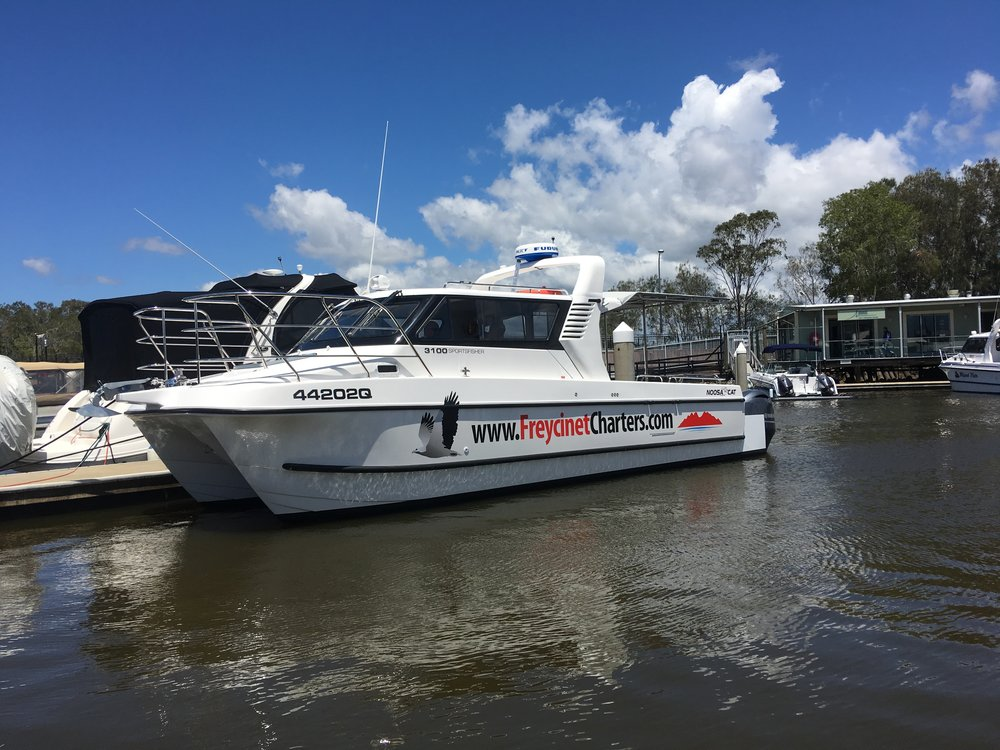 Our Noosa Cat moored at Noosaville on the day she passed sea trials (October 2017).