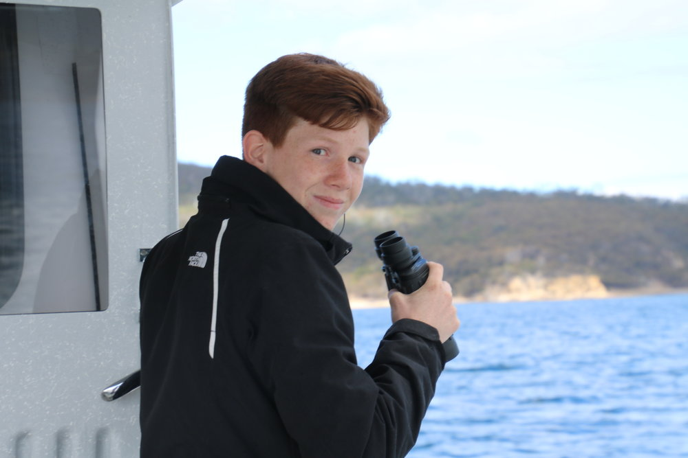 Our qualified deckhand Seb, also our youngest son.