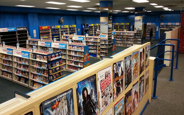 The inside of a typical video store.