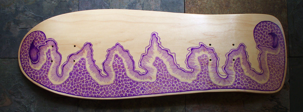 Purple Sharpie custom skateboard deck - click the image to get the free tutorial