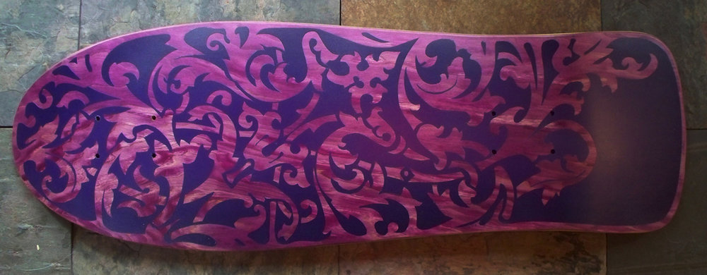 Purple on purple damask pattern skateboard deck - click the image to get the free tutorial
