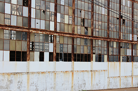 Wall of factory windows