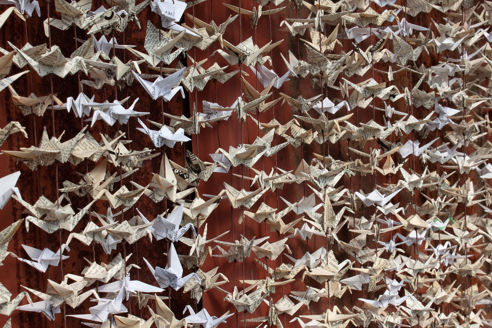 1000 cranes from recycled paper