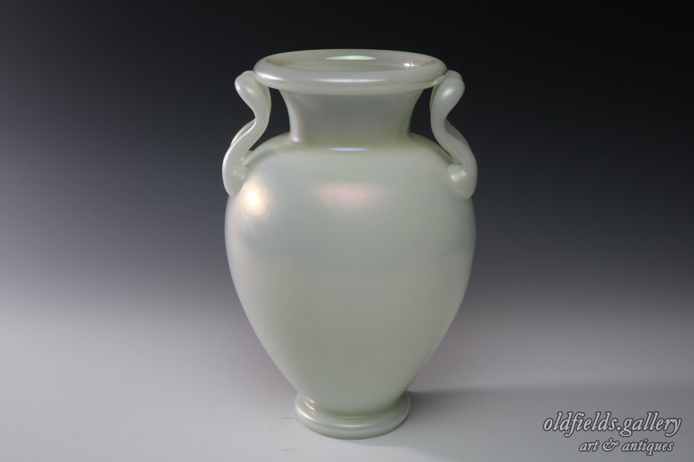 Pair Of Frederick Carder For Steuben Ivrene Vases Oldfieldsllery