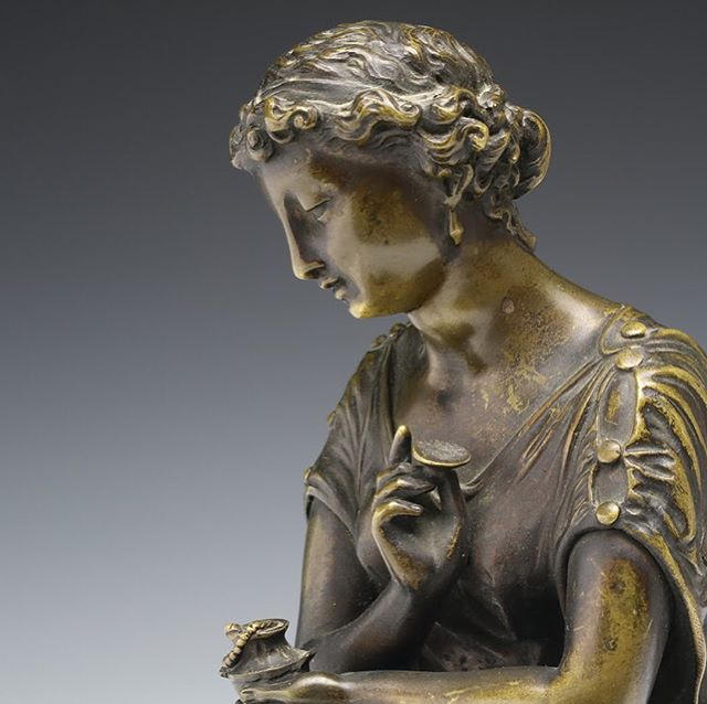 "A French mid-19th century neoclassical bronze figure of a seated classical female dressed in a flowing tunic, opening a box to reveal a beaded necklace within. Marked ""G F."" Likely originally made to sit on a clock. . . 8.75 in. (22 cm.) tall . . DM for inquiry. Link in profile. . . #antiqueart #antiquedealer #antiquestyle  #antiquedealersofinstagram #decorativearts #antiquesforsale #classical #neoclassical #patina #frenchantique #frenchantiques #objetdart #antiquedecor #vintagedecor #frenchdecor #frenchstyle #homedecor #moreau #fineart #sculpture #bronze #antiquebronze #bronzesculpture #19thcentury #19thcenturyantiques #1800s #interiordecor #interiordecorideas #interiordecorators #interiordesignideas"