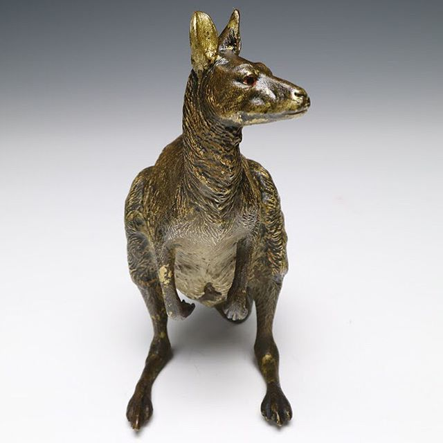 """Where am I? What is this place?... Social media is weird."" - some Austrian cold-painted bronze kangaroo . . 7 in. (18 cm.) tall . . DM for inquiry, or check out the link in our profile! . . #kangaroo #kanagaroos #coldpainted #bergman #patina #antique #antiques #decorativearts #austria #austrian #viennese #vienna  #viennaart #austrianart #viennaaustria #objetdart #antiquedecor #animalsculpture #sculpture #bronze #antiquebronze #paintedbronze #bronzesculpture #paintedsculpture #antiqueart #antiquesculpture #antiquesforsale #antiqueshop #antiquestore #antiquedealer"