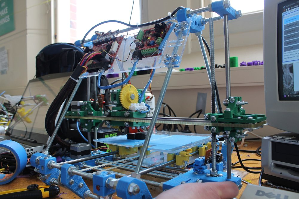 The reprap mendal that Paul built at dpsace. It's available for anyone to use.